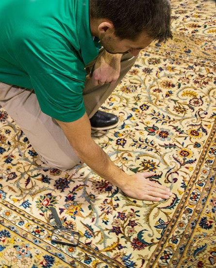 tech examining area rug before cleaning