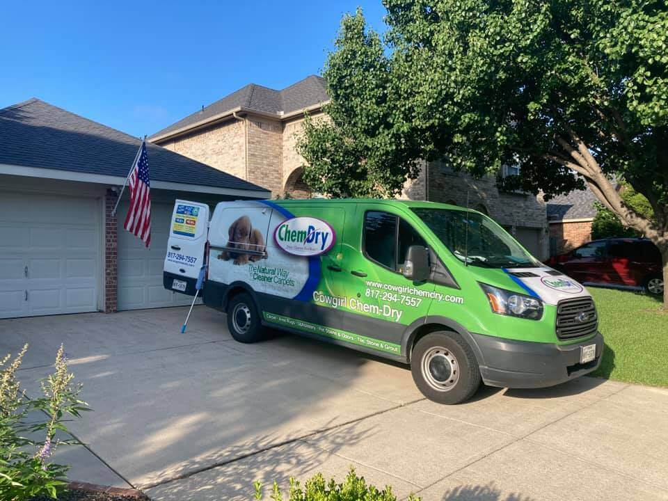carpet cleaner with equipment and van